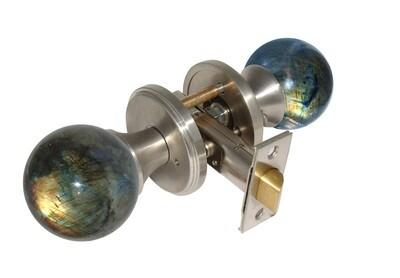Gemstone Hardware Door Knob Labradorite Satin Stainless Steel Privacy 2-3/8