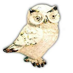 Charleston Knob Company  WHITEWASHED COTTAGE /FARMHOUSE OWL CABINET KNOB 2