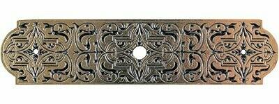 Notting Hill Cabinet Hardware Renaissance Etch Back Plate Brite Brass 3-7/8