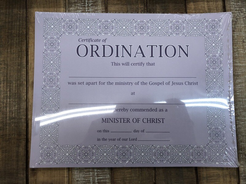Certification of Ordination 6 pk