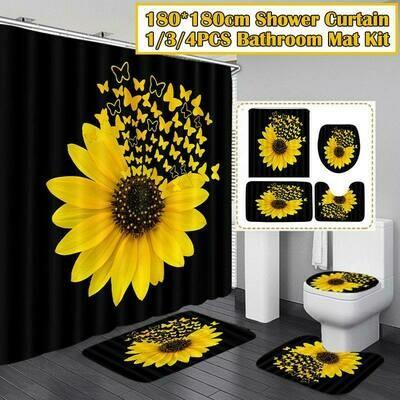 4PCS/Set Sunflower Butterfly Print Shower Curtain Waterproof Bathroom Curtain Toilet Cover Mat Non-Slip Rug Set Bathtub Decor