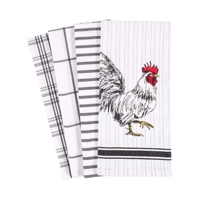 KAF Home Set of 4 Kitchen Towels - Rooster