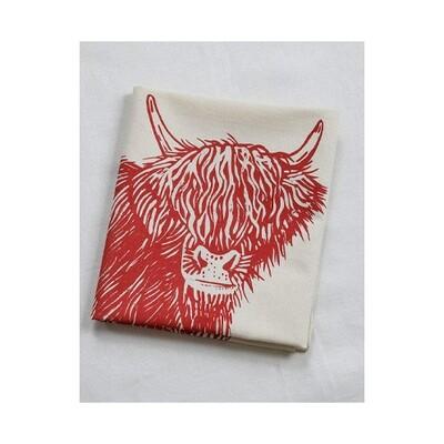 Hearth & Harrow Organic Cotton Tea Towel - Highland Cow