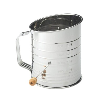 Mrs Anderson's 5 Cup Stainless Steel Crank Flour Sifter