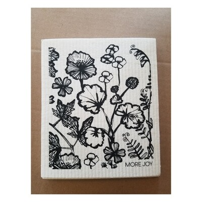 Compostable Dishcloth - Black Flowers on White