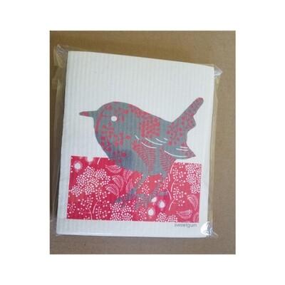 Compostable Cloth - Red & Grey Bird