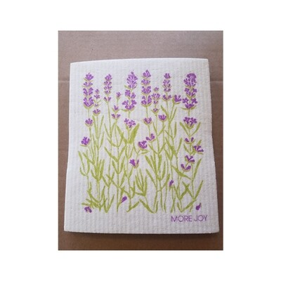 Compostable Cloth - Lavender Flowers on White