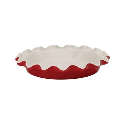 Rose's Ceramic Pie Plate - Red Ruffles