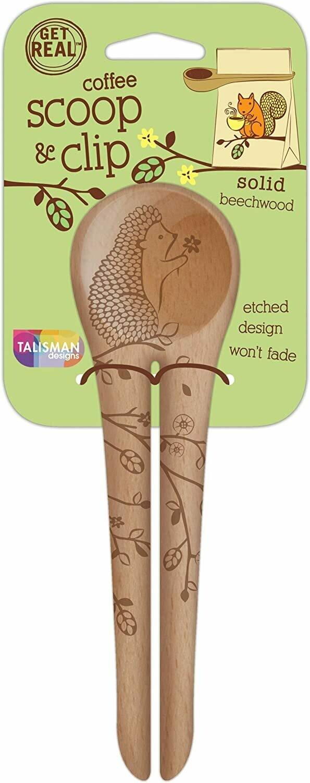 Talisman Beechwood Coffee Scoop & Clip - Woodland