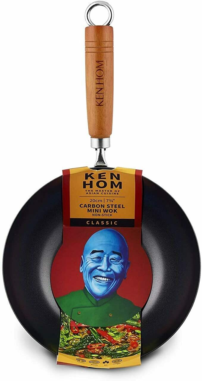Ken Hom Carbon Steel Wok - Non-Stick 7.75