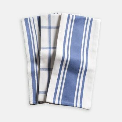 KAF Home Set of 3 Kitchen Towels - Periwinkle