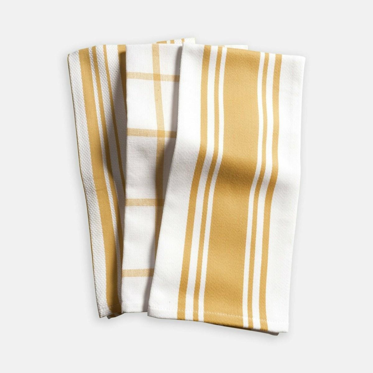 KAF Home Set of 3 Kitchen Towels - Ochre