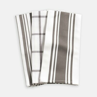 KAF Home Set of 3 Kitchen Towels - Pewter