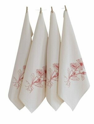 Hearth & Harrow Set of 4 Organic Cotton Napkins - Calendula Flowers