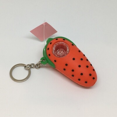 Silicone strawberry Key chain