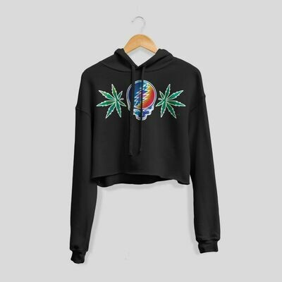 Grateful Dead Lightning Skull Cropped Hoodie
