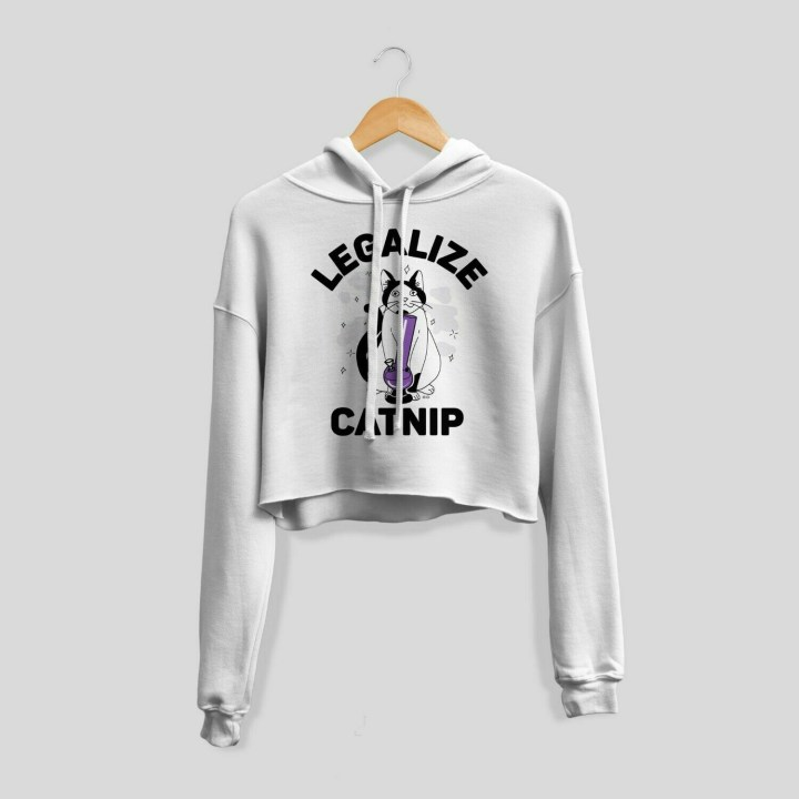 Legalize Catnip Cropped Hoodie