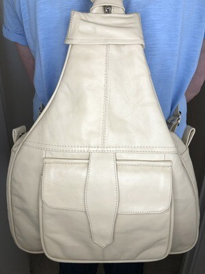 Beige Leather Rucksack Cross-Body bag