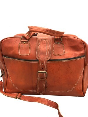 Burnt Orange Leather Weekend Bag