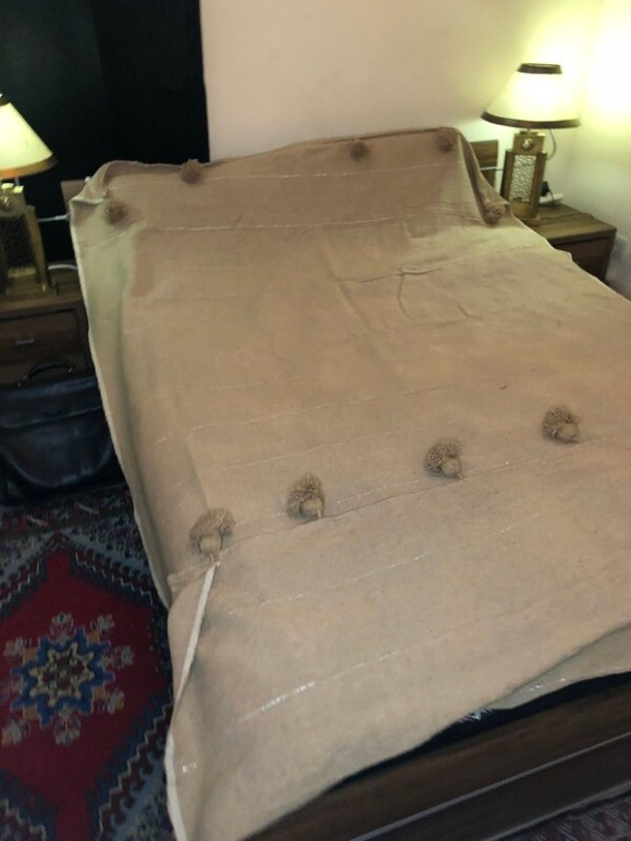 Moroccan Bedspread/Throw with Pompoms - Grey