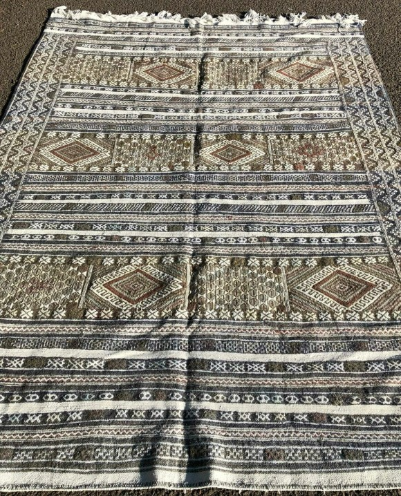 Handwoven Moroccan Berber Tiflet Tiffany Kilim Rug 250 x 185 cm