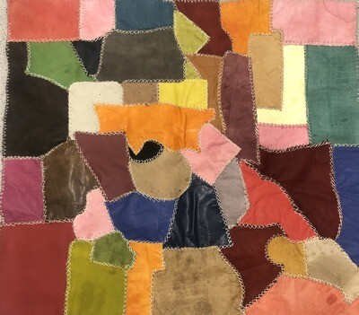 Handmade Multi-Coloured Patchwork Moroccan Leather Rug