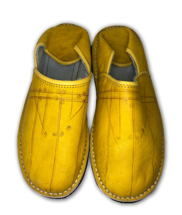 Men's Yellow Organic Leather Moroccan Babouche Slippers
