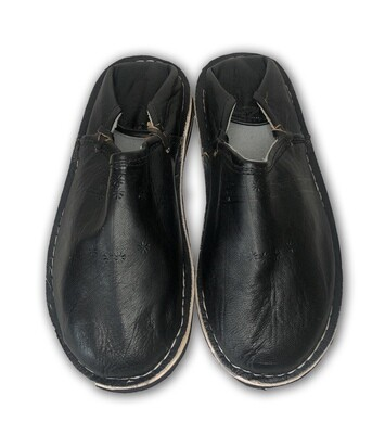Men's Black Organic Leather Moroccan Babouche Slippers