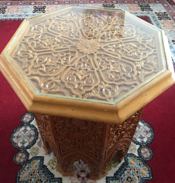 Moroccan Carved Wooden Coffee Table