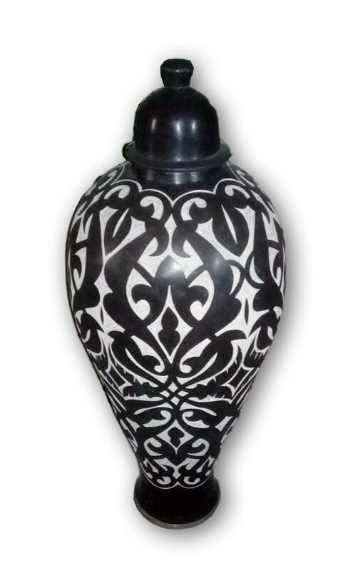 Hand-painted Black and White Ceramic Moroccan Vase Pre-orders only - please inquire