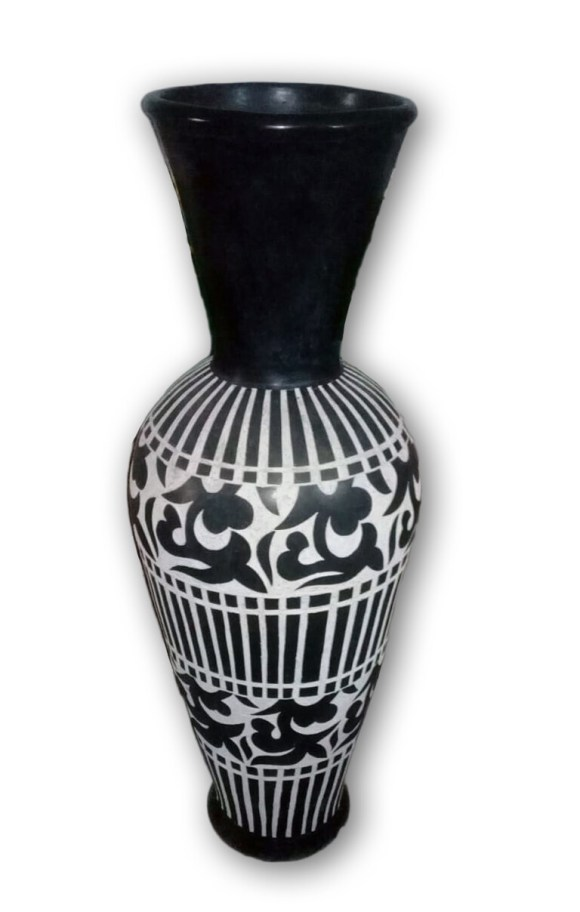 Hand-painted Black and White Moroccan Ceramic Vase  Pre-orders only - please inquire