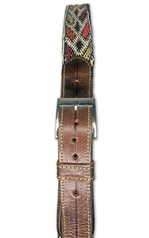 Men's Handmade Moroccan Brown Leather Kilim Belt