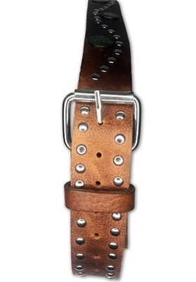 Men's Vintage  Handmade Moroccan Leather Belt with Coins