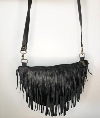 Black Moroccan Leather Tasselled Shoulder Bag