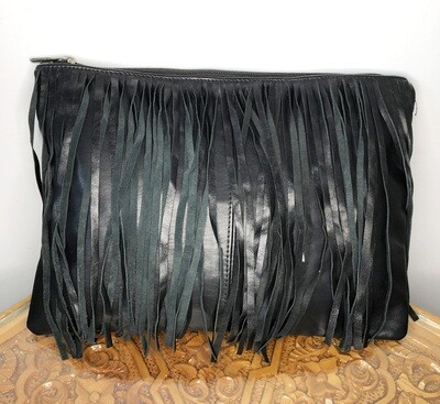 Black Moroccan Leather Tasselled Clutch Bag