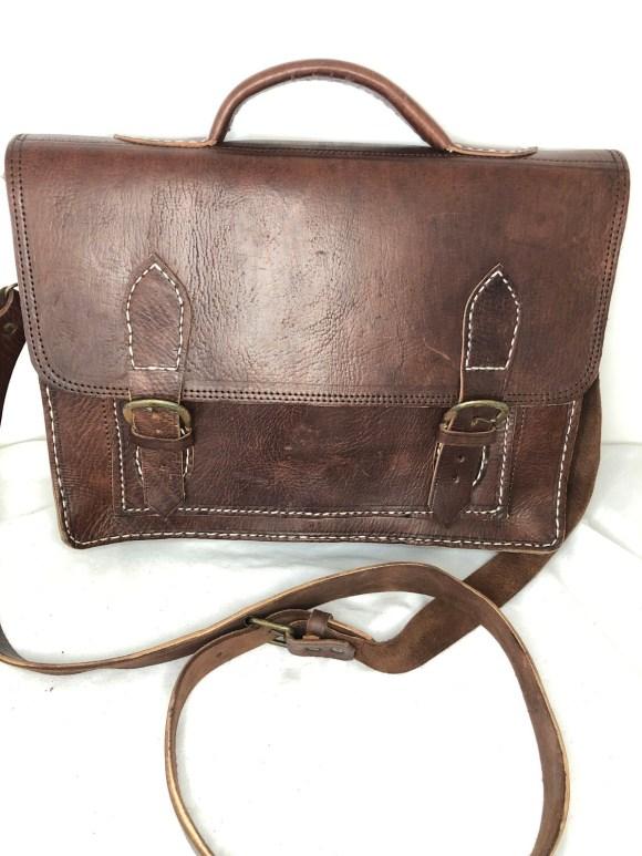 Dark Brown Moroccan Leather Satchel or School Bag