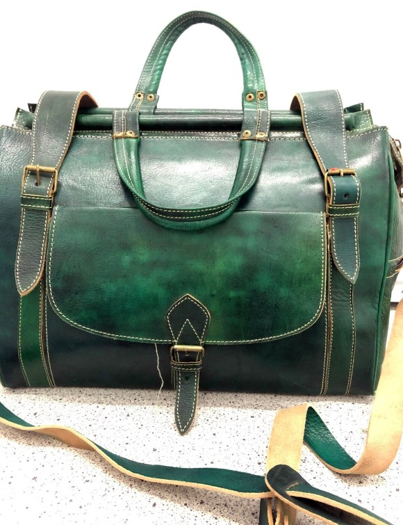 Green Moroccan Leather Weekend Bag