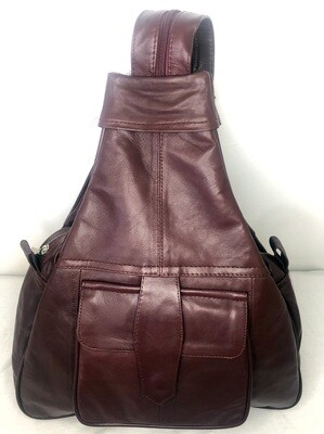 Burgundy Leather Rucksack Cross-Body bag