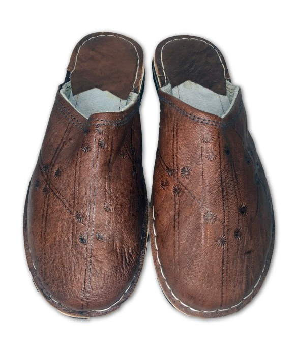 Men's Brown Organic Leather Moroccan Babouche Slippers