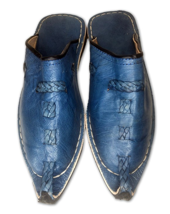 Men's Pointed Blue Organic Leather Moroccan Babouche Slippers