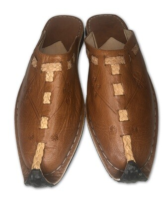 Men's Pointed  Tan Organic Leather Moroccan Babouche Slippers