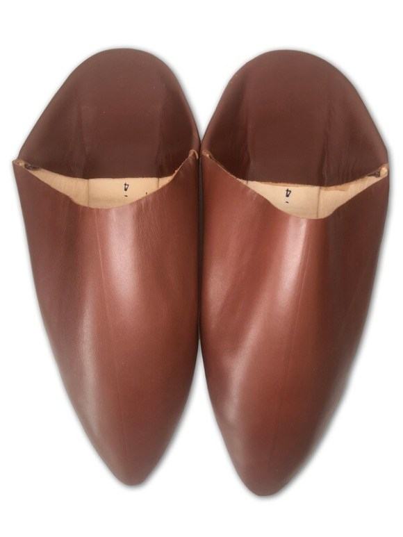 Men's Plain Pointed Dark Tan/Russet Organic Leather Moroccan Babouche Slippers