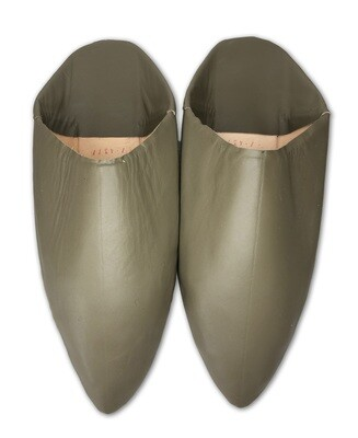 Men's Plain Pointed Olive Organic Leather Moroccan Babouche Slippers