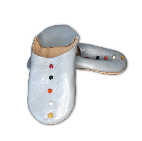 Grey leather slippers with silk knot decoration