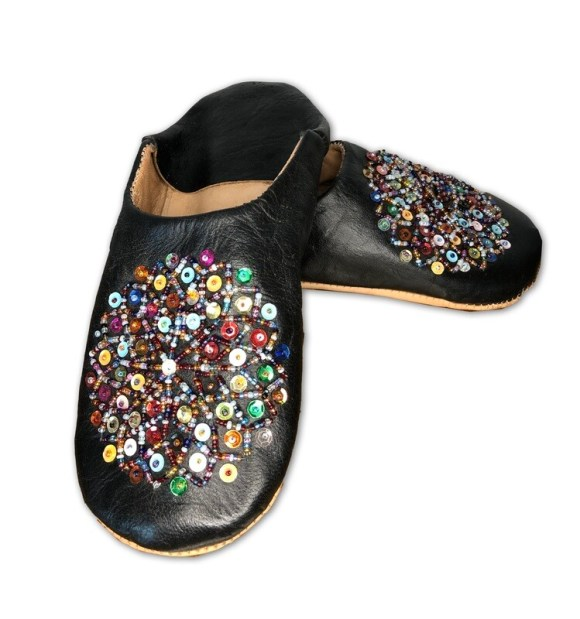 Black leather slippers with multi-coloured sequin decoration