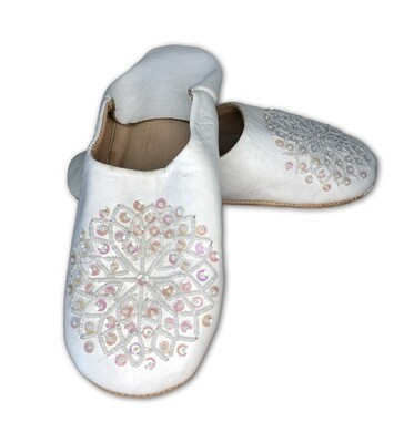 White leather slippers with sequin decoration