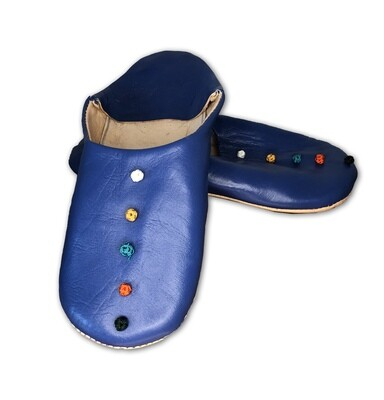 Dark blue leather slippers with silk knot decoration