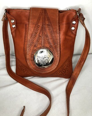 Dark Tan Moroccan Embossed Leather Tote Bag Cross Body Shopper