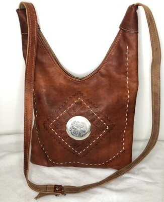 Dark Tan Moroccan Embossed Leather Hobo Bag Cross Body Shopper