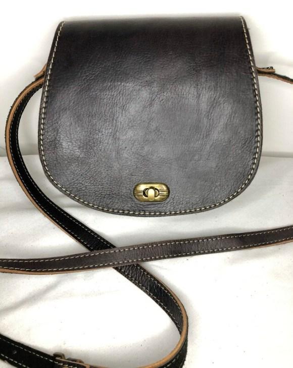 Plain Black Moroccan Leather Saddle Bag Shoulder Bag